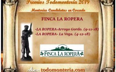 Las dos monterías celebradas la pasada temporada en Finca La Ropera, optarán al premio de Mejor Montería que entregará el portal Todomontería.com