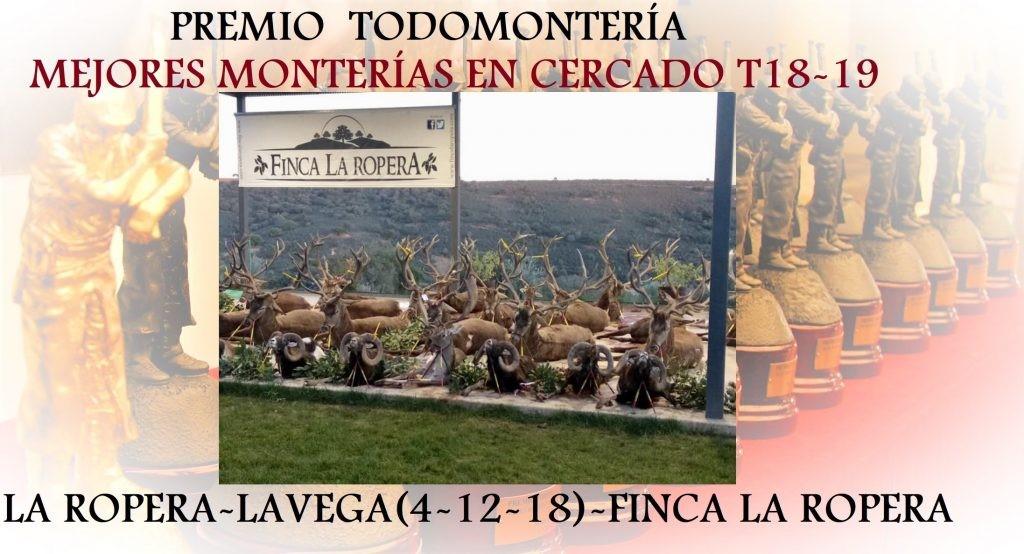 La montería de reses celebrada en Finca La Ropera la pasada temporada, premiada por Todomontería.com como una de las mejores monterías a nivel nacional